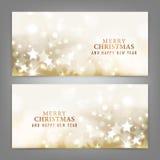 Vrolijke Kerstmis en Gelukkige Nieuwjaarskaart Stock Foto