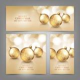 Vrolijke Kerstmis en Gelukkige Nieuwjaarskaart Stock Foto's