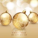 Vrolijke Kerstmis en Gelukkige Nieuwjaarskaart Stock Afbeeldingen