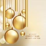 Vrolijke Kerstmis en Gelukkige Nieuwjaarskaart Royalty-vrije Stock Foto