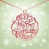 Vrolijke Kerstmis en Gelukkige Nieuwjaarskaart, met de hand geschreven kalligrafie Stock Foto