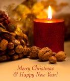 Vrolijke Kerstmis en Gelukkige Nieuwjaarskaart met exemplaarruimte voor tekst Royalty-vrije Stock Afbeeldingen
