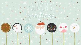 Vrolijke Kerstmis en Gelukkige Nieuwjaarskaart met groetsuikergoed Royalty-vrije Stock Foto