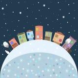 Vrolijke Kerstmis en Gelukkige Nieuwjaarskaart met Kleurrijke Huizen stock illustratie