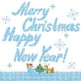 Vrolijke Kerstmis en Gelukkige Nieuwjaartekst Hand getrokken tekst waterverfkerstmis en Nieuwjaarachtergrond royalty-vrije illustratie