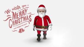 Vrolijke Kerstmis en Gelukkige Nieuwjaartekst met Kerstman die raad houden stock illustratie