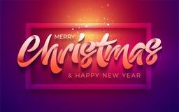 Vrolijke Kerstmis en Gelukkige Nieuwjaartypografie Stock Foto