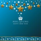 Vrolijke Kerstmis en Gelukkige Nieuwjaartypografie op Blauwe Achtergrond stock foto's