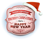 Vrolijke Kerstmis en Gelukkige Nieuwjaren Kenteken Stock Afbeeldingen