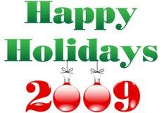 Vrolijke Kerstmis en Gelukkige Vakantie 2009 Ornamenten Royalty-vrije Stock Afbeeldingen