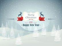 Vrolijke Kerstmis en het Gelukkige landschap van de Nieuwjaar boswinter met sneeuwvalvector Stock Afbeeldingen