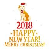 Vrolijke Kerstmis en het Gelukkige malplaatje van de Nieuwjaarprentbriefkaar met de leuke gele hond op witte achtergrond Het hond Stock Fotografie