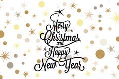 Vrolijke Kerstmis en het gelukkige nieuwe jaar kalligrafische van letters voorzien met achterboom en gouden sterren op witte acht Royalty-vrije Stock Afbeelding
