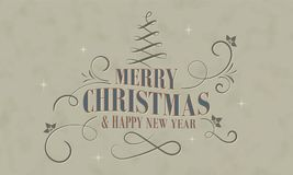 Vrolijke Kerstmis en het Gelukkige Nieuwjaar wensen in retro stijl met decoratieve Kerstmisboom, hulstbessen en krommen dit Vecto vector illustratie