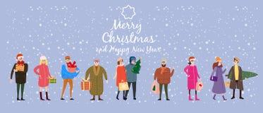 Vrolijke Kerstmis en het Nieuwjaar, kaartmalplaatje met mensenkarakters, mannen en vrouwen in de winterkleren komen met giften stock illustratie
