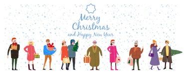 Vrolijke Kerstmis en het Nieuwjaar, kaartmalplaatje met mensenkarakters, mannen en vrouwen in de winterkleren komen met giften royalty-vrije illustratie