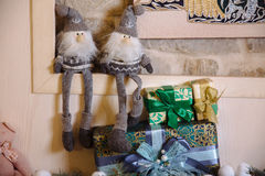Vrolijke Kerstmis en het Nieuwjaar 2017 stellen, speelgoed, decoratie voor Concepy van vakantie Royalty-vrije Stock Foto's