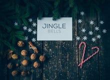Vrolijke Kerstmis en Jingle Bells royalty-vrije stock afbeeldingen