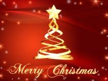 Vrolijke Kerstmis en Kerstmisboom met sterren Stock Fotografie