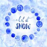 Vrolijke Kerstmis en liet is sneeuw het van letters voorzien Geplaatste de kaders van waterverfsneeuwvlokken Kerstmis en Nieuwjaa Royalty-vrije Stock Afbeelding