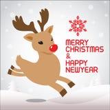 Vrolijke Kerstmis en lopende Rudolph vector illustratie