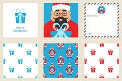 Vrolijke Kerstmis en Nieuwe de kaartreeks van de jaargroet Naadloze patronen Leuke Aziatische Kerstman Stock Afbeelding