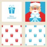 Vrolijke Kerstmis en Nieuwe de kaartreeks van de jaargroet Omvat vakantie als thema gehade naadloze patronen Stock Afbeelding