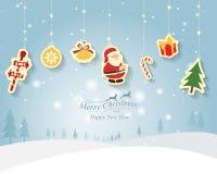 Vrolijke Kerstmis en nieuwe jaarkaart, vector, illustratie Royalty-vrije Stock Afbeelding