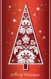 Vrolijke Kerstmis en Nieuwjaarachtergrond met decoratieve Kerstboom stock fotografie