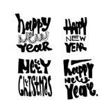 Vrolijke Kerstmis en Nieuwjaarhand getrokken het van letters voorzien inzameling Vector illustratiereeks Royalty-vrije Stock Foto
