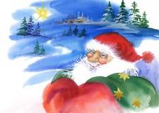 Vrolijke Kerstmis en Nieuwjaarskaart met Santa Claus, waterverfillustratie royalty-vrije illustratie