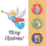 Vrolijke Kerstmis Engelen die trompetten blazen Vector illustratie royalty-vrije illustratie