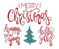 Vrolijke Kerstmis, gelukkig nieuw jaar en hulst heel het handdrawn van letters voorzien vector illustratie