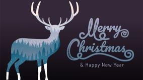 Vrolijke Kerstmis, gelukkig nieuw jaar, kalligrafie, de landschapswinter, vectorillustratie stock illustratie