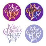Vrolijke Kerstmis & gelukkig nieuw jaar logotype Stock Afbeelding