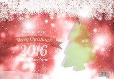 Vrolijke Kerstmis & gelukkig nieuw jaar 2016 rood thema Stock Afbeeldingen