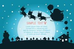 Vrolijke Kerstmis, Gelukkig nieuw jaar, Vrolijk Kerstmisontwerp met brede exemplaarruimte, Santa Claus, kaart, achtergrondkaartgr Stock Illustratie