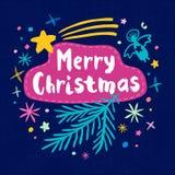 Vrolijke Kerstmis Gelukkig Nieuwjaar Stock Foto