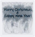 Vrolijke Kerstmis & Gelukkig Nieuwjaar berijpt venster, vector vector illustratie