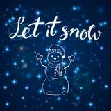 Vrolijke Kerstmis Gelukkig Nieuwjaar, de groetkaart van 2018 Laat het sneeuwen typografiekerstmis met hand getrokken teksten en o Stock Foto