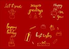 Vrolijke Kerstmis Gelukkig Nieuwjaar, de groetkaart van 2018 Typografiekerstmis met hand getrokken tekst en ontwerpdecoratie word Stock Afbeeldingen