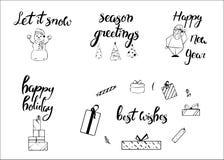 Vrolijke Kerstmis Gelukkig Nieuwjaar, de groetkaart van 2018 Typografiekerstmis met hand getrokken tekst en ontwerpdecoratie word Royalty-vrije Stock Fotografie