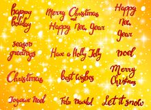 Vrolijke Kerstmis Gelukkig Nieuwjaar, de groetkaart van 2018 Typografiekerstmis met hand getrokken tekst en ontwerpdecoratie word Stock Foto