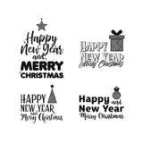 Vrolijke Kerstmis Gelukkig Nieuwjaar Typografiereeks vector illustratie