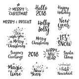Vrolijke Kerstmis, Gelukkige Nieuwjaar 2018 Met de hand geschreven Reeks kalligrafie Geïsoleerde Stock Foto