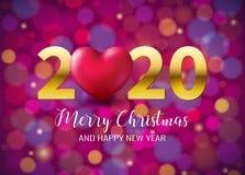 2020 Vrolijke Kerstmis, Gelukkige Nieuwjaaraffiche met Roze Hart op Bokeh-het fonkelen achtergrond Voor Kerstmis, de Kerstmiswint vector illustratie