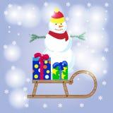 Vrolijke Kerstmis, gelukkige sneeuwman, sneeuwmanvector, sneeuwmanchristma Stock Fotografie