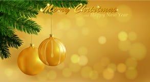 Vrolijke Kerstmis gouden achtergrond Stock Fotografie