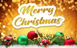 Vrolijke Kerstmis Gouden inschrijving op een feestelijke achtergrond stock illustratie