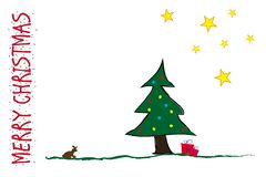 Vrolijke Kerstmis Grappige prentbriefkaar stock afbeeldingen